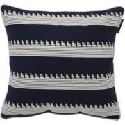Embroidery Striped Kuddfodral 50x50 cm, Blå/Vit