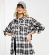 Missguided Maternity – Brun rutig skjorta i oversize